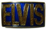 Elvis Rectangle Blue and Gold Glitter Belt Buckle + display stand. Product code: BA2